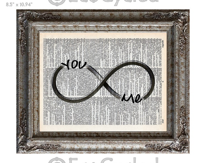 You and Me Infinity Forever Symbol on Vintage Upcycled Dictionary Art Print Book Art Print Wedding Anniversary Love Romance bookworm gift