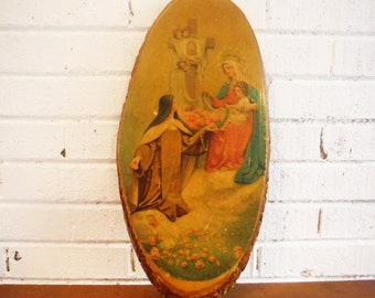 Vintage religious stump plaque madonna child nun catholic kitsch decor
