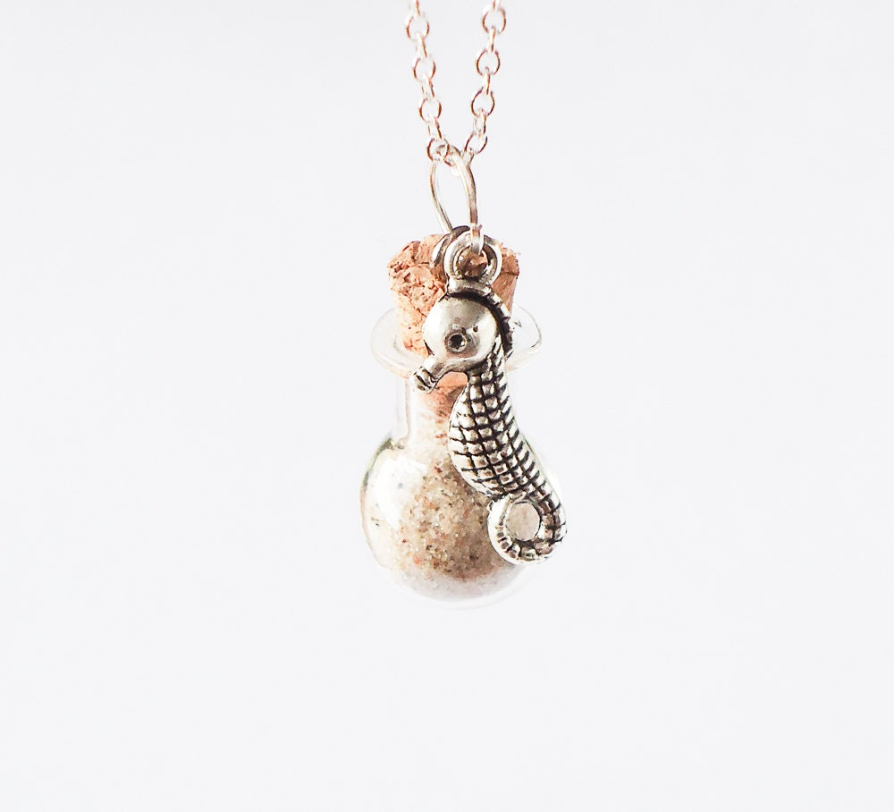 sand in a bottle necklace seahorse charm sea by