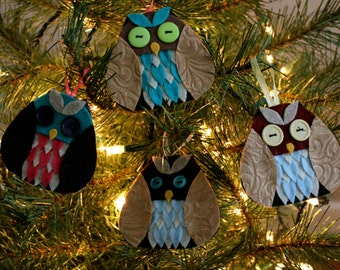 Set of 4 Random EcoFriendly Felt Owl Christmas Tree Ornaments