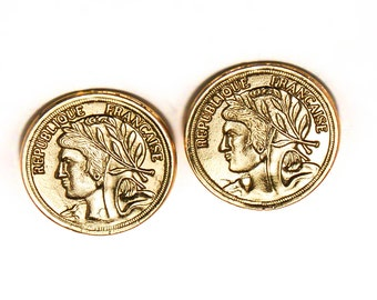 French Coin Clip Earrings 1980s Haute Couture Runway Style
