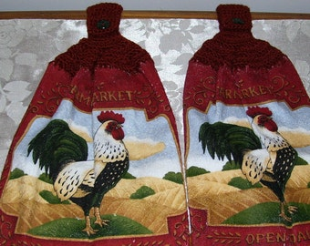2 Rooster Kitchen Towels with Rust Crochet Top