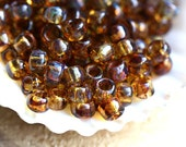 Brown TOHO Seed beads size 6/0 Hybrid Natural Picasso Y301 brown topaz round japanese glass beads - 10g - S357