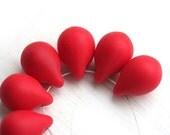 Teardrop beads, briolettes - Matte Opaque Red, czech glass drops - 10x14mm - 6Pc - 1505