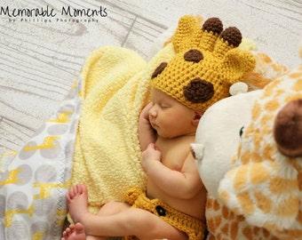 Newborn Giraffe  Set- Newborn Photo Prop, baby giraffe, giraffe photo prop, giraffe hat, giraffe baby gift, animal hat, animal photo prop