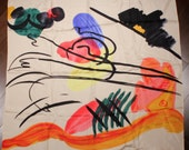 KANDINSKY Vintage 90s Silk Carre Three Horsemen Carre Anne Crespelle Carre Limited Edition Carre 1990s French Accessories