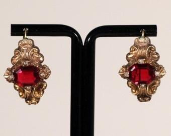Antique Earrings Gold Tone Earrings Rhinestone Earrings Genuine Pearls Dressy Earrings Baroque Hook As Clasp French Victorian Jewelry
