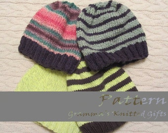 Adult Basic Knitted Beanie Pattern