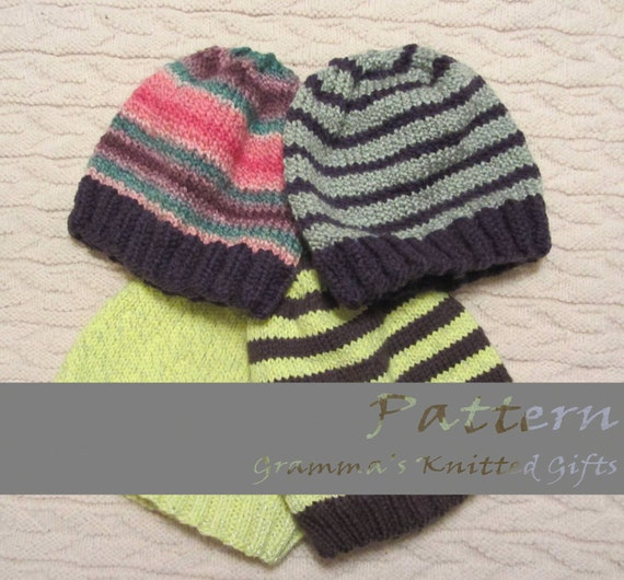 Simple Knitted Beanie Pattern : Adult Basic Knitted Beanie Pattern