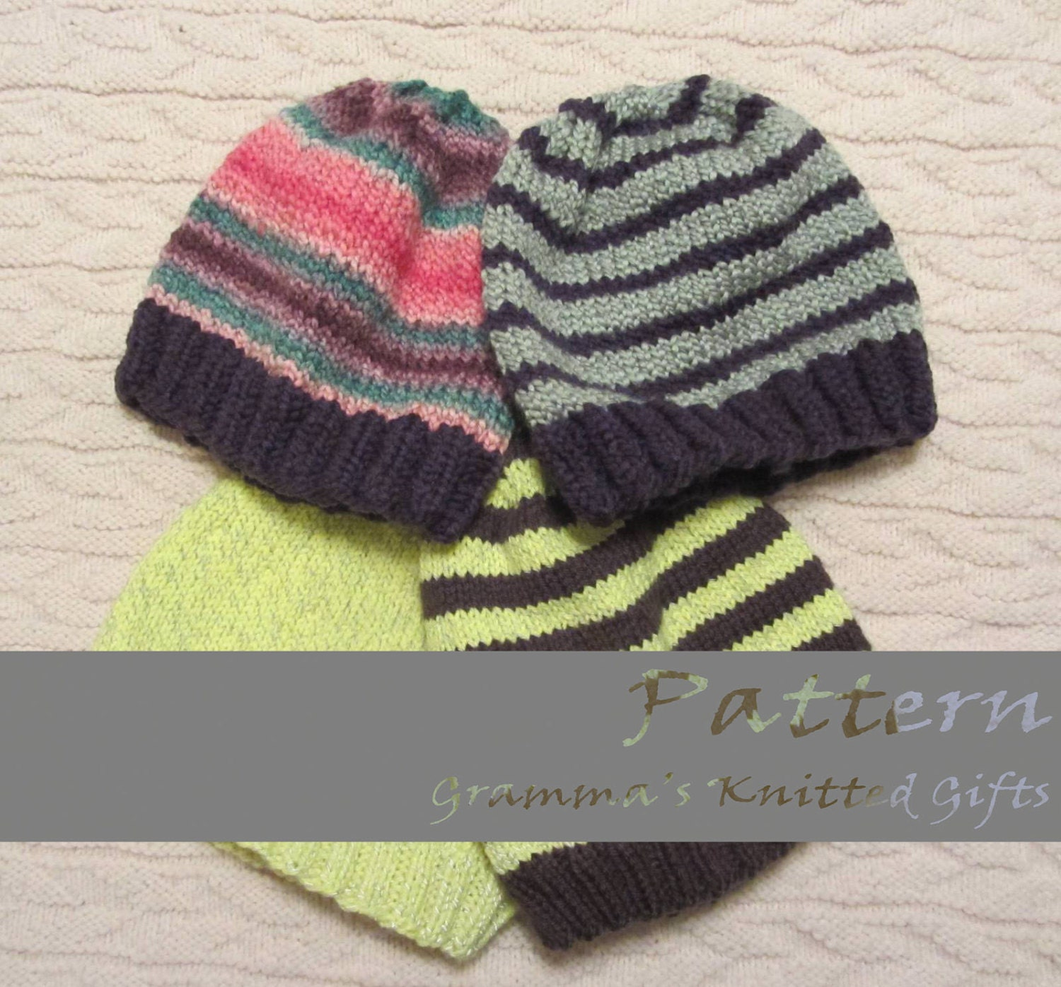 Knitted Beanie Patterns For Adults : Adult Basic Knitted Beanie Pattern