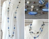 Long Bead Necklace: Blue, Brown, and Cream Boho Chic Jewelry with Antiqued Brass, Layering Style, Wire-Wrapped Beach Jewelry