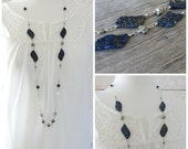 Blue and Gold Necklace: Long Lapis Lazuli and Pyrite Chain Layering Jewelry in Sterling Silver