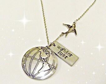 Wanderlust Handstamped Swallow & Globe  Safe Travelling Necklace