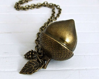 Large Acorn Necklace .. autumn, fall, metal necklace, rustic jewellery, acorn pendant, autumn fruit