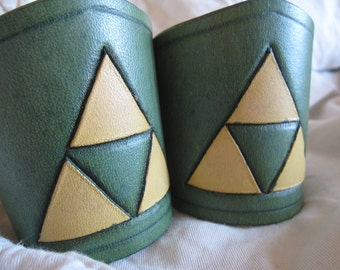 Leather cuffs with Triforce design from Legend of Zelda