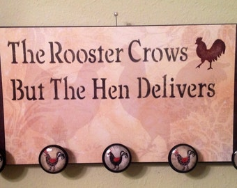 Rooster Sign. Wall Hanger. Rooster Decor. Housewarming Gift. Country Home Rooster Lover Rooster Kitchen Kitchen Decor  Knobs  Home Decor