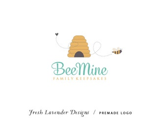 Custom Logo Design Premade Logo and Watermark for Photographers and Small Businesses Hand Drawn Bee & Beehive Whimsical Shabby Chic