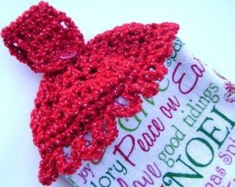 Crochet Hanging Dish Towel Christmas Holiday Decoration