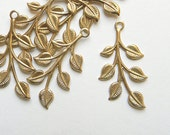 Raw Brass Leaf, Leaves, Leaf Stamping, Brass Finding, 20mm x 37mm - 4 pcs. (r186)