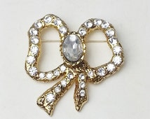 Vintage Large Rhinestone Gold Golden Bow Costume Jewelry Brooch Pin on Etsy