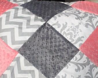 Baby Girl Crib Bedding - Coral,Gray Chevron, and White Gray Damask Crib Bedding Ensemble with Patchwork Blanket