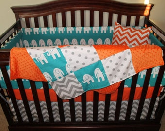 Gray Chevron, White Gray Dot, Turquoise Ele, and Orange Minky Patchwork Baby Blanket