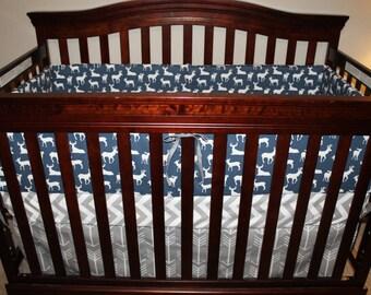 Baby Boy Crib Bedding - Navy Deer, Gray Arrow, Gray Chevron, and Navy Crib Bedding Ensemble