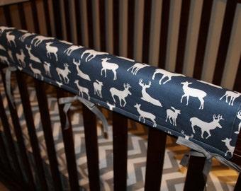 Deer Baby Crib Rail Guard Cover - Navy, Gray, Light Pink, Aqua, Apache Blue, Coral, Yellow, Kiwi Lime, Hot Pink