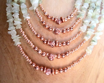 Multi-Stand Amazonite and Copper Necklace - Handmade Jewelry