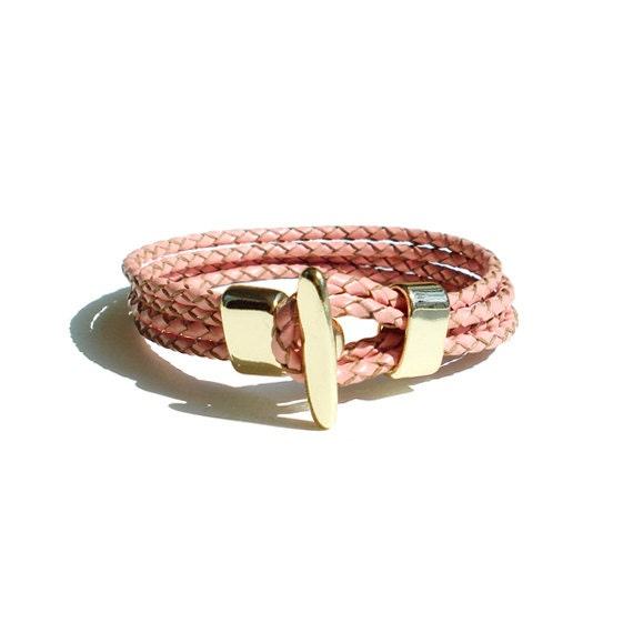 Braided Leather Bracelet - Pink