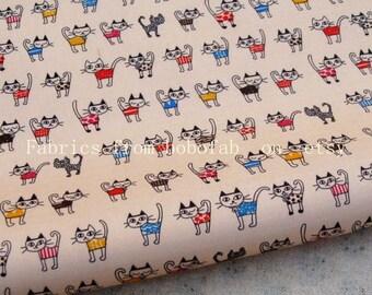 """3259A  - 1 yard Vinyl Waterproof Fabric - lovely cat - beige- 57""""x36"""""""