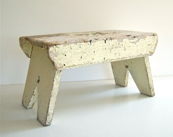 Old Wooden Step Stool Chippy Farmhouse Chic