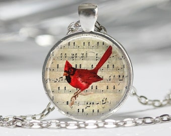 Cardinal Jewelry Cardinal Necklace Cardinal on Sheet Music