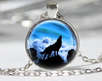 Wolf Howling Necklace Glass Pendant Necklace Wolf Jewelry
