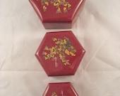 3 Plastic Burgundy Floral Hexagon Nesting Boxes Vintage 1970s Vintage Trinket Boxes Small Storage Boxes