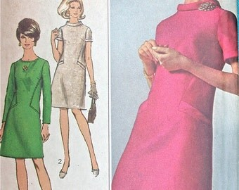 "Simplicity Dress Pattern No 7193 UNCUT Vintage 1960s Size 16 Bust 36"" Designer Fashion Short or Long Sleeves A Line Back Zipper Mod"