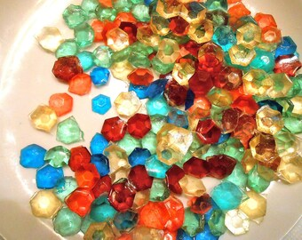 MULTI COLORED Party, Candy Gems, Edible Sugar Jewels, Sugar Diamonds, Cupcake Toppers, Cake Decorations, 60