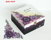 Personalized Wedding Card Holder / Hand painted Wish Box / Home Decoration / Jewelry Box / Trinket Sewing Box, One-stroke painting