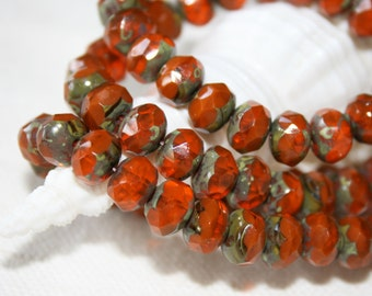 8 x 6 mm . Czech Pressed Glass Rondells .  beautiful burnt orange autumn fall . 10 beads