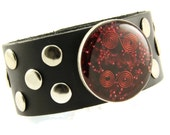 Orgone Energy Bracelet - Bold Black Leather Cuff Bracelet - Red Garnet Gemstone - Unisex Bracelet - Artisan Jewelry