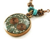 Orgone Energy Small Reversible Pendant in Copper with Turquoise Gemstones - Orgone Jewelry - Artisan Jewelry