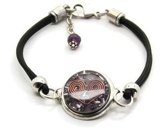 Orgone Energy Bracelet - Leather Friendship Bracelet - Amethyst Gemstone - Celebrity Gift - Artisan Jewelry