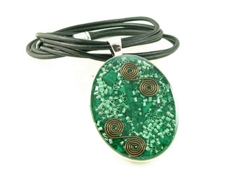 Orgone Energy Pendant - Large Silver Oval with Malachite Gemstone - Leather Necklace - Orgone Jewelry - Celebrity Gift - Artisan Jewelry