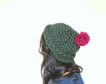 Chunky Pom Pom Hat in Emerald Green and Magenta Purple, Slouchy Knit Beanie, hand crocheted, unisex, READY TO SHIP