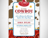 A Little Cowboy Baby Shower Invitation - DIY - Digital File - Print Your Own - JPEG - PDF
