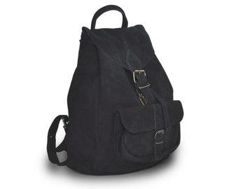 Large suede leather backpack / Women/Men black leather backpack