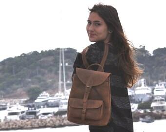 Medium size leather backpack / Women/Men chestnut leather backpack