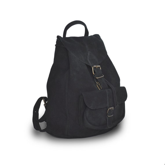 Large suede leather backpack / Women/Men black leather