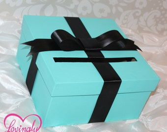 Card Holder Box in Light Teal and Black Satin Ribbon - Gift Money Box for Any Event - Baby Shower, Wedding, Bridal Shower, Birthday
