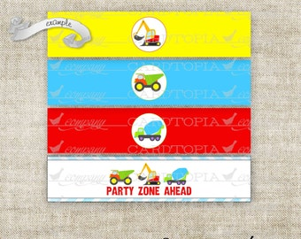 Instant Download - Bottle Label Bottle Wrapper Birthday Construction Tractor Big Trucks Party Pack Digital DIY Printable - 207910562
